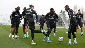 Gareth Bale, Rodrygo y Vinicius, durante el entrenamiento