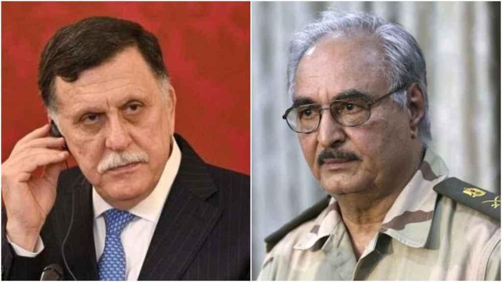 A la izquierda, el primer ministro de Libia reconocido por la comunidad internacional, Fayez al-Serraj; a la derecha, el general Haftar, jefe del autoproclamado Ejército Nacional Libio.