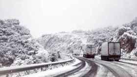 Varios camiones bloqueados en la carretera A-367 de acceso a la localidad de Ronda (Málaga).