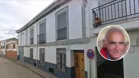 Santos, el guardia civil retirado en una imagen publicada por Antena 3, y la calle donde reside, en Villanueva de Alcardete.