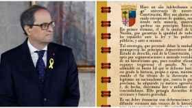 El presidente catalán, Quim Torra, junto al calendario que ha editado Lambán.