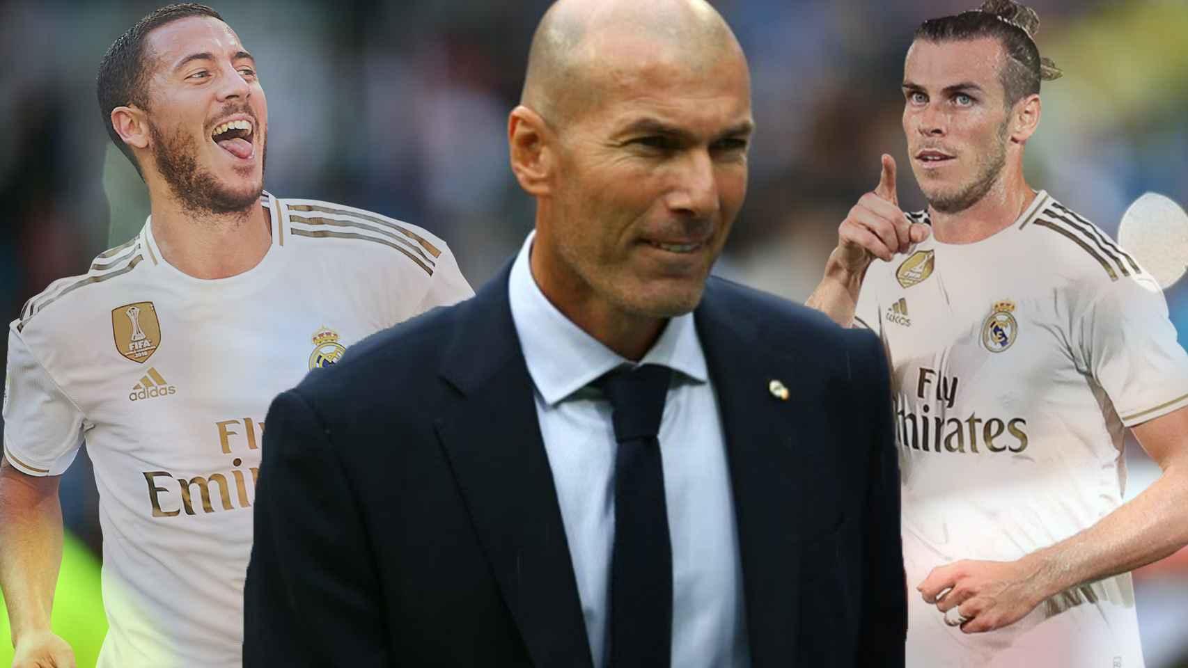 Eden Hazard, Zinedine Zidane y Gareth Bale