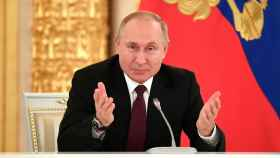 Russian President Vladimir Putin speaks during his meeting with business community at the Kremlin in Moscow