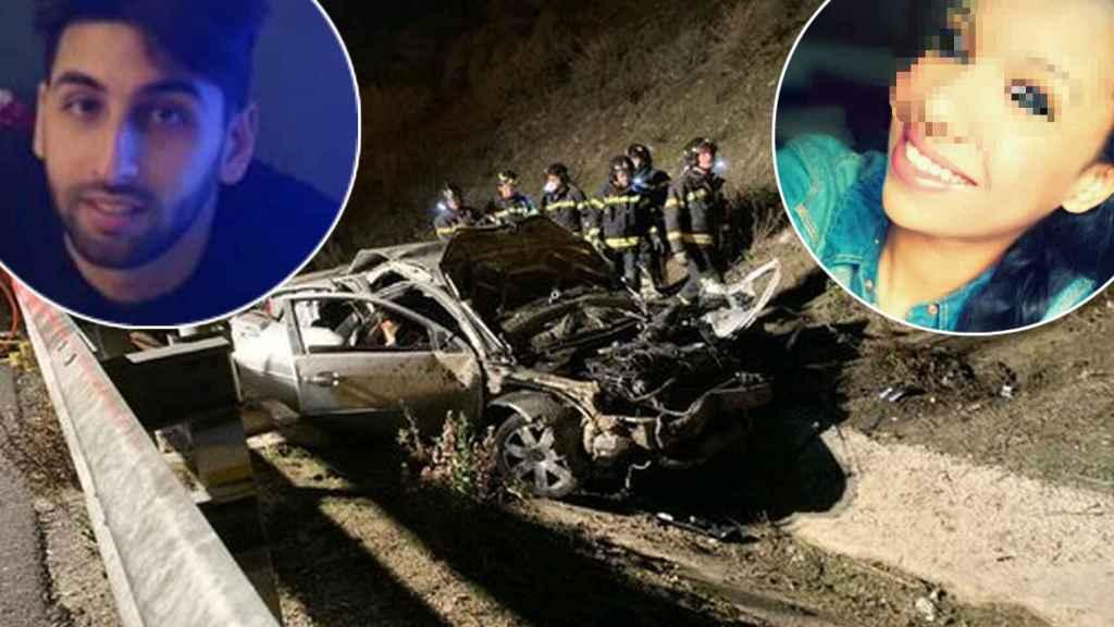 Oussama, Dayana y el coche donde perdió la vida el primero.