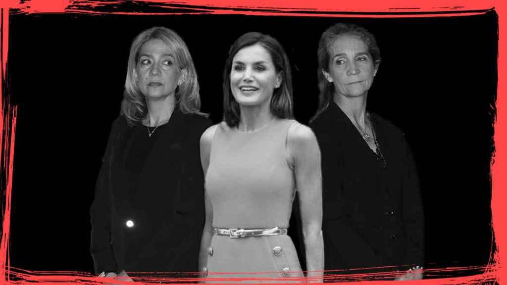 La Reina Letizia junto a sus cuñadas -y enemigas- Cristina y Elena.
