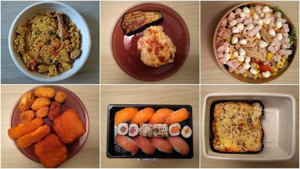 La comida que compró David en los distintos supermercados durante una semana.