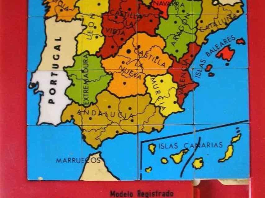 Puzle de un mapa de España de los años 80.