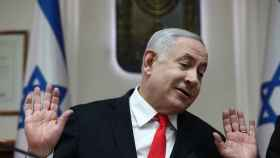 Benjamin Netanyahu, primer ministro israelí, durante la reunión semanal del gabinete en su oficina en Jerusalén.