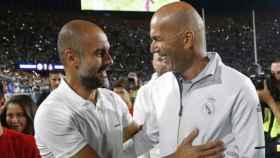 Zidane y Guardiola, durante un amistoso