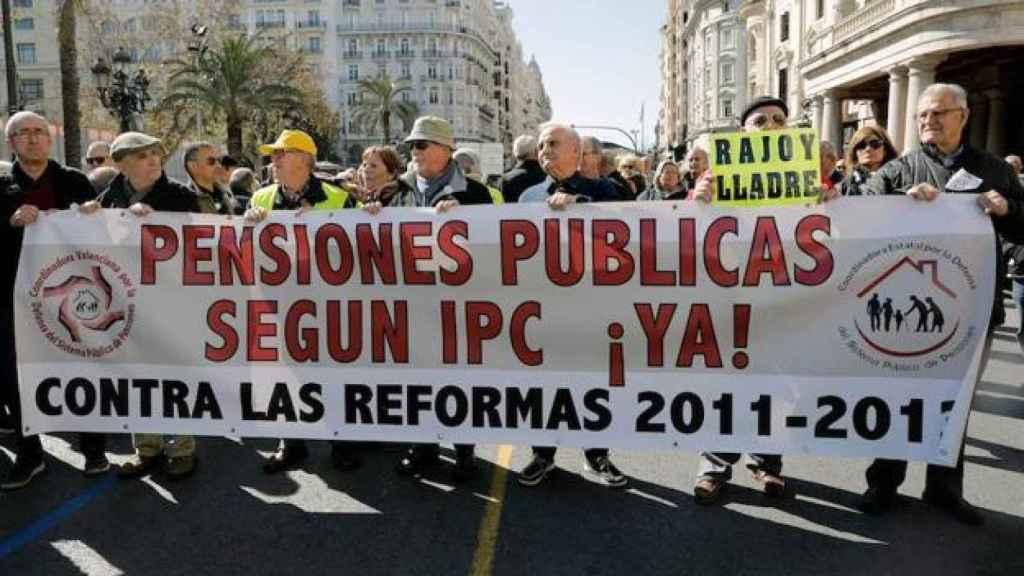 Manifestación de los pensionistas en Valencia.
