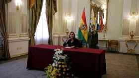 Karen Longaric, canciller interina de Bolivia, durante la lectura de la nota de protesta.