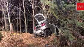 Lugar del accidente en la carretera en el kilómetro 2 de la carretera M-614.