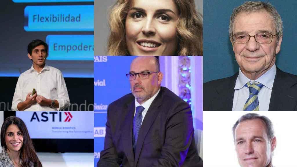 J. M. Álvarez Pallete, Claudia Sender, César Alierta, Verónica Pascual, Emilio Gayo y Silvio González.