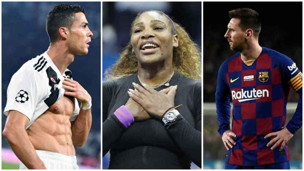 Cristiano Ronaldo, Serena Williams y Lionel Messi