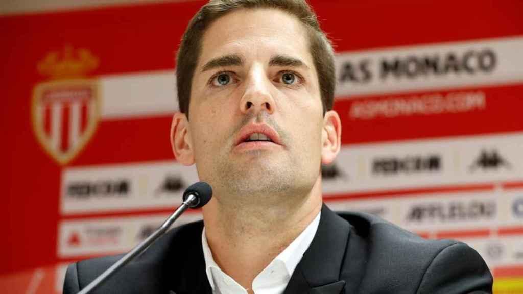 Robert Moreno, en rueda de prensa con el Mónaco