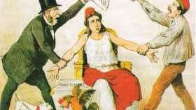 Caricatura de la revista La Flaca del 3 de marzo de 1873 sobre la pugna entre radicales y republicanos federales.