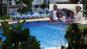 La familia Diya y la piscina donde murieron tres de sus cinco miembros.