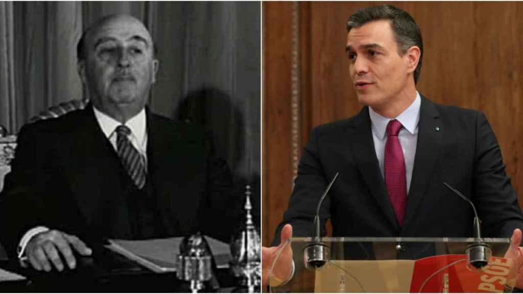 Franco en uno de sus discursos navideños del 30-D y Sánchez 50 años después anunciando el programa de Gobierno