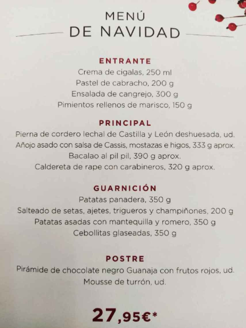 Menú de El Corte Inglés de Nochebuena, Nochevieja y Noche de Reyes.