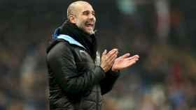 Pep Guardiola, durante el partido del Manchester City frente al Everton