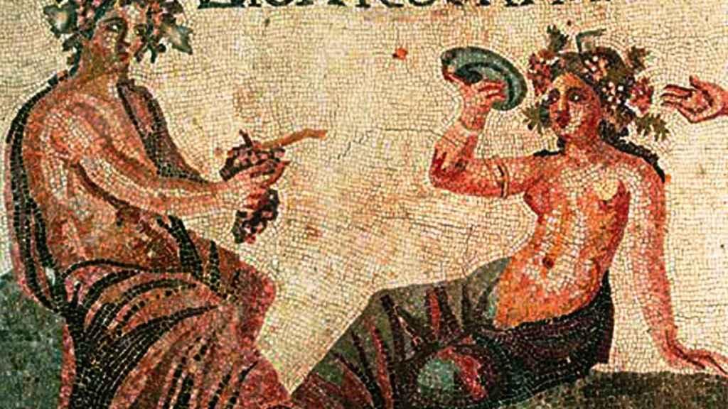 Dioniso y Acmé en un mosaico en Chipre.