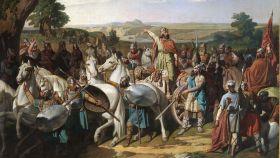 Don Rodrigo, el último rey de los visigodos, arengando a sus tropas antes de que comenzara la batalla de Guadalete (711).