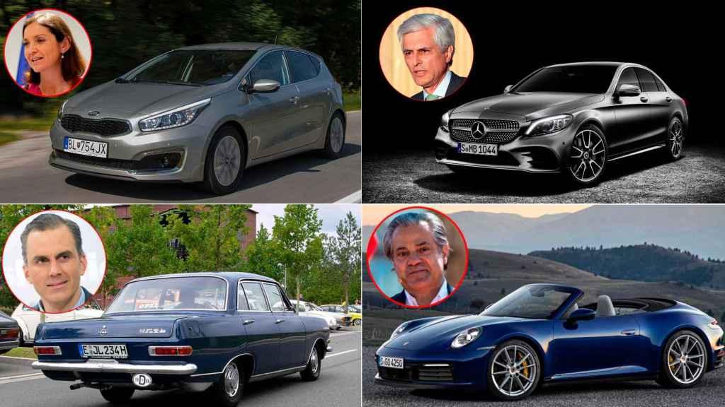 Reyes Maroto, Adolfo Suárez Illana, Javier Ortega Smith y Marcos de Quinto,  diputados de los distintos partidos, junto a sus coches.