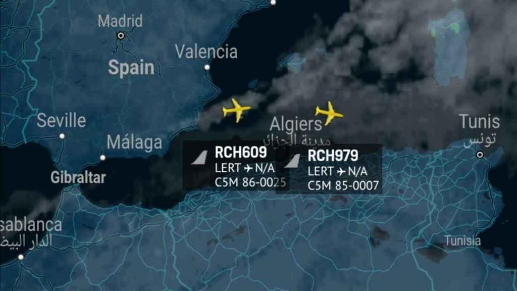 Ruta de dos aviones C5M que hicieron escala en Rota en su camino a Oriente Medio.