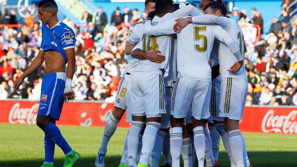 Piña del Real Madrid ante el Getafe