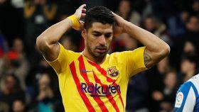 Luis Suárez, en el Espanyol - Barcelona de La Liga