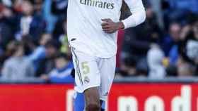 Varane celebra un gol del Real Madrid ante el Getafe