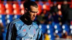 Gareth Bale, calentando antes del partido en Getafe
