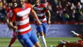 Montero celebra el gol ante el Mallorca