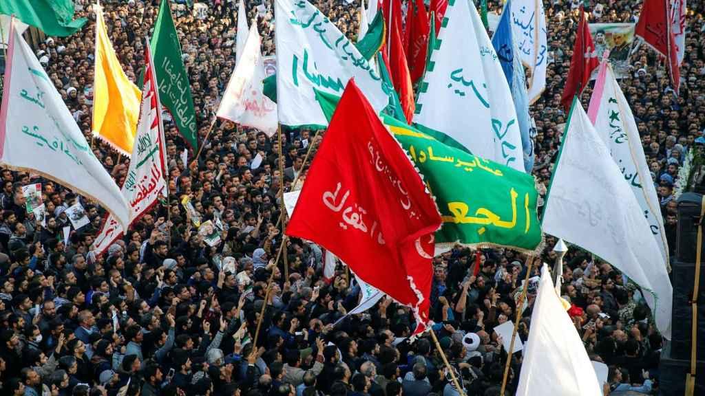 Concentración en la ciudad iraní de Ahvaz,  en las ceremonias de homenaje al general Qasim Soleimani.