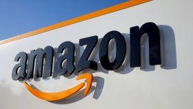 Logotipo de Amazon en Boves, Francia.