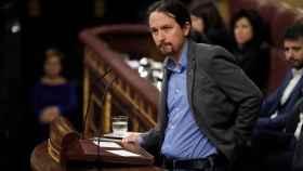 Pablo iglesias, durante su intervención este martes en el Congreso en la investidura de Sánchez.