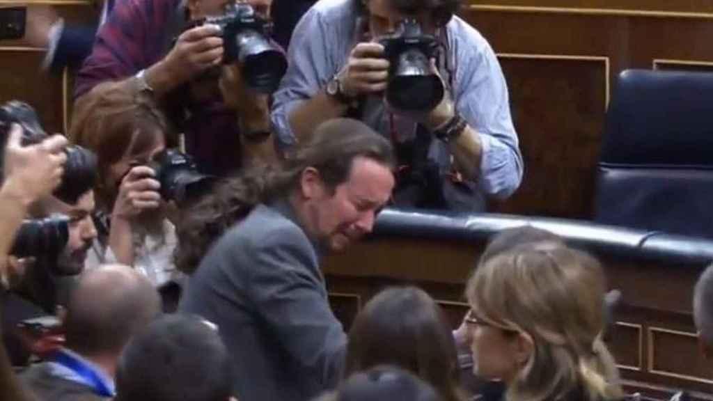 Las lágrimas de Pablo Iglesias en el Congreso.