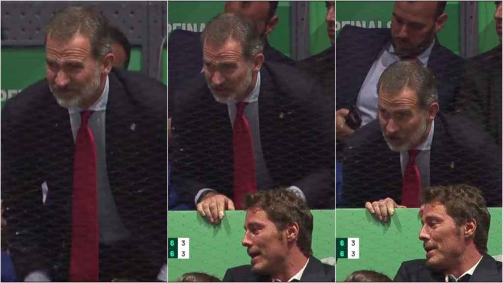 Felipe VI se duele durante la final de la Copa Davis en la Caja Mágica de Madrid.