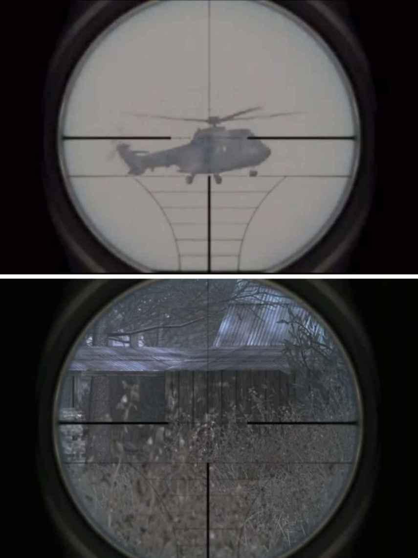 Arriba, la imagen del vídeo propagandístico; abajo, la imagen del videojuego 'Call of Duty'. Se puede observar que la composición de la mira telescópica es idéntica en ambos casos.