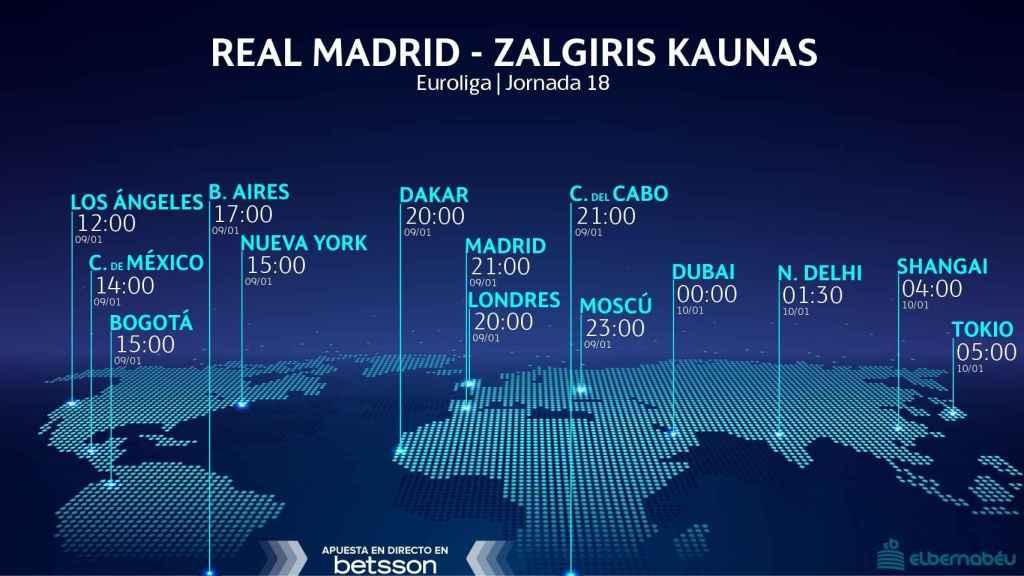 Horario Real Madrid -Zalgiris