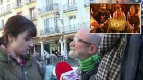 La mujer, en la pega de carteles de Vox en Teruel, antes de las elecciones de noviembre.
