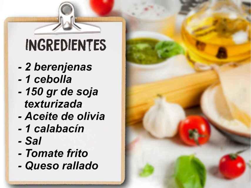 Los ingredientes de la berenjena rellenas de soja.