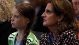 Greta Thunberg y Teresa Ribera en un plenario de la COP25 el pasado diciembre.