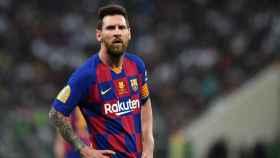 Leo Messi, en la semifinal de la Supercopa de España entre Barcelona y Atlético de Madrid