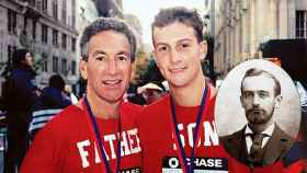 Charlie y Jared Kushner tras una maratón y Frederick Trump, abuelo del presidente.
