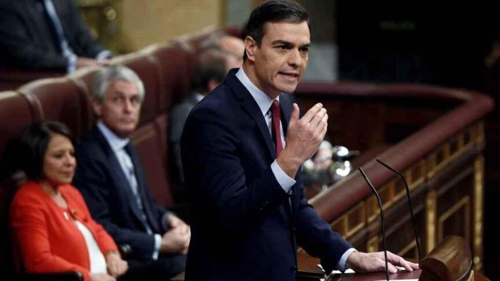 Pedro Sánchez, presidente del Gobierno, durante su intervención en el debate de investidura.