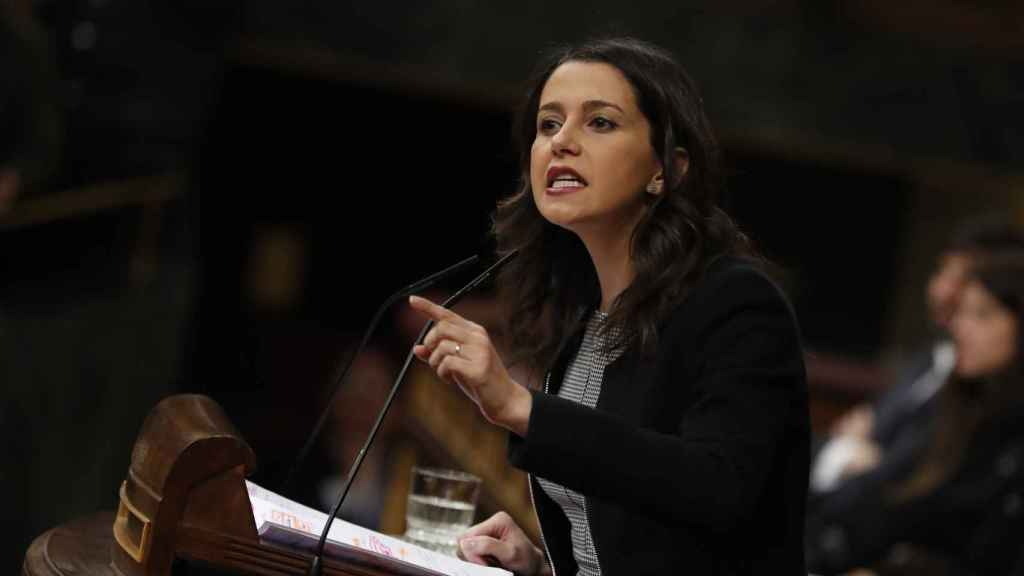 La líder de Ciudadanos, Inés Arrimadas, en su intervención en el Congreso este martes.