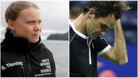 Greta Thunberg y Roger Federer