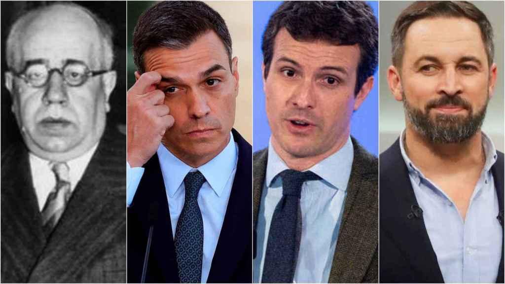 De izquierda a derecha: el presidente de la II República, Manuel Azaña, Pedro Sánchez, Pablo Casado y Santiago Abascal.