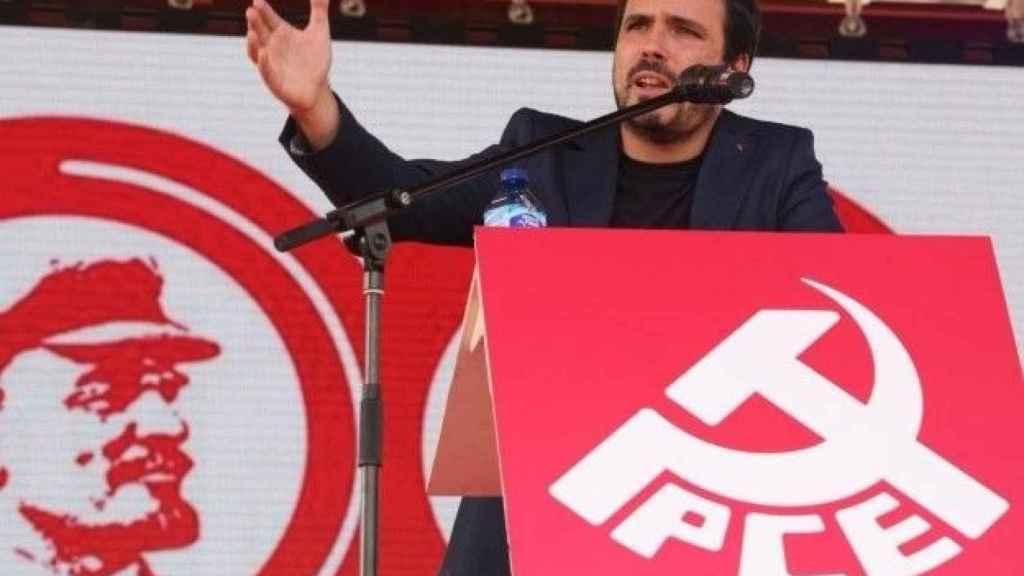 Alberto Garzón en un mitin del PCE.